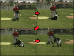 right shoulder roll kids baseball exercise