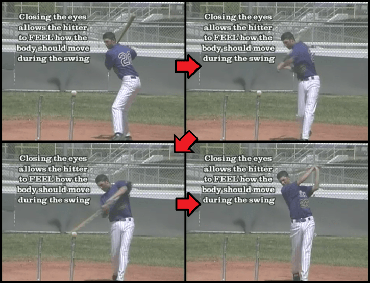 blind tee baseball hitting drill