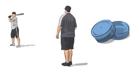 Bottle Cap Baseball Hitting Drill